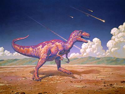 Meteorite Art Photograph - Tyrannosaurus Rex With Meteorites by Joe Tucciarone
