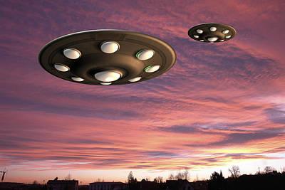 Science Fiction Photograph - Ufo Landing, Computer Artwork by Friedrich Saurer