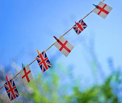 Uk And English Flags On Rope Line Art Print