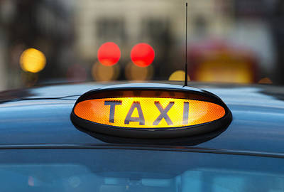 Y120907 Photograph - Uk, England, London, Sign On Taxi Cab by Tetra Images