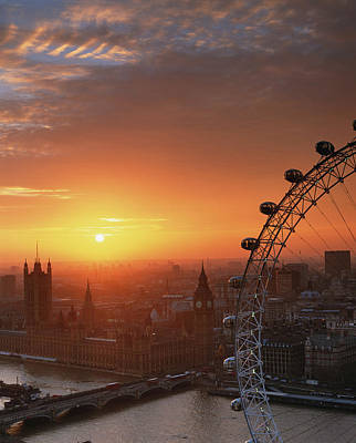 Part Of Photograph - Uk, London, Millennium Wheel And Cityscape, Sunset, Elevated View by Travelpix Ltd