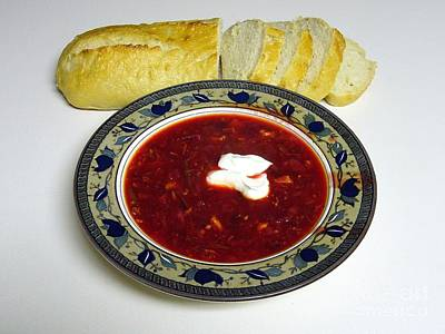 Ukrainian Borsch With Sour Cream Art Print by Jim Sauchyn