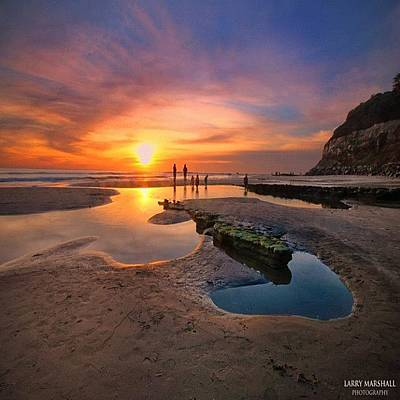 Ultra Low Tide Sunset At A North San Art Print by Larry Marshall