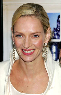 Chandelier Earrings Photograph - Uma Thurman At Arrivals For The by Everett
