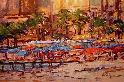Margherita Painting - Umbrellas In Santa Margherita by R W Goetting