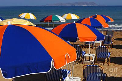 Umbrellas Of Crete Art Print by Bob Christopher