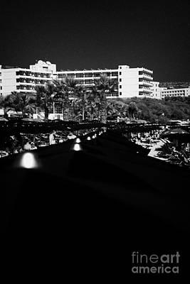 Umbrellla Sun Shades On Harbour Beach Ayia Napa Republic Of Cyprus Europe Art Print by Joe Fox