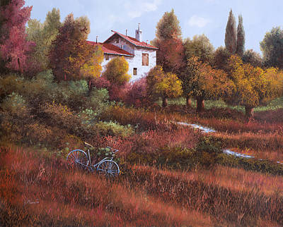 Red Leaves Painting - Una Bicicletta Nel Bosco by Guido Borelli