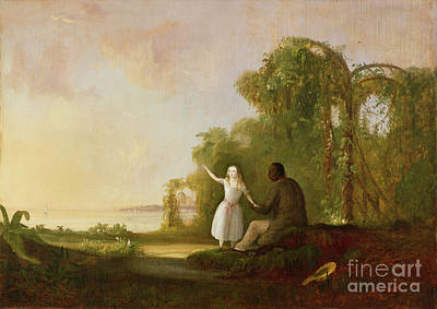 Literature Painting - Uncle Tom And Little Eva by Robert Scott Duncanson