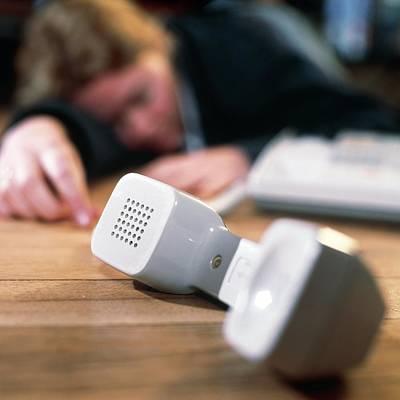 Unconscious Photograph - Unconscious Woman Lying Near A Telephone by Tek Image