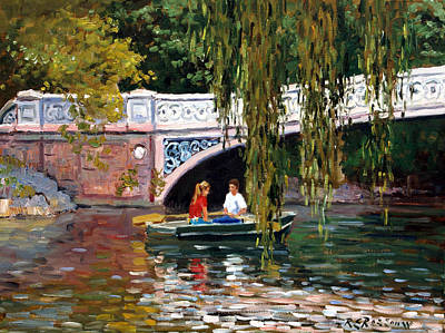 Under The Bow Bridge Central Park Print by Roelof Rossouw