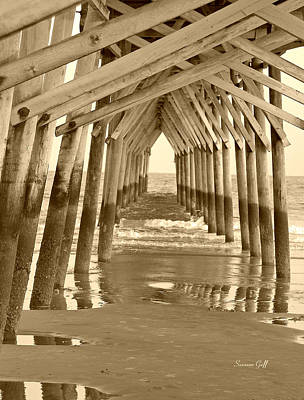 Photograph - Under The Pier - Sunset Beach In Sepia by Suzanne Gaff