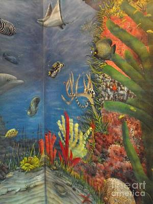 Under The Red Wall Painting - Under The Sea Mural by Sandy  Hurst