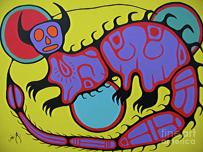 Shamanic Painting - Under Water Panther by Jim Oskineegish