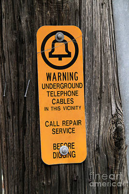 Underground Telephone Cable Sign Art Print by Photo Researchers
