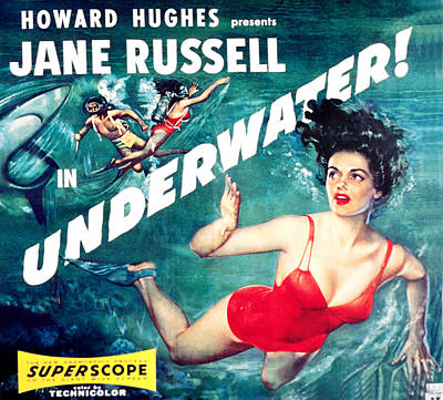 1955 Movies Photograph - Underwater, Jane Russell, 1955 by Everett