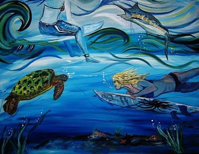 Underwater Surfers Art Print by Amanda Dinan