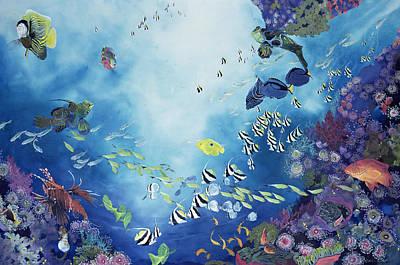 Fish Underwater Painting - Underwater World IIi by Odile Kidd