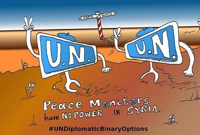 Binary Options News Cartoon Mixed Media - Undiplomatic Binary Options Cartoon by OptionsClick BlogArt