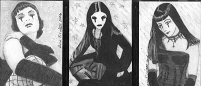 Drawing - Unholy Trio - Goth Girls - Aceo by Ana Tirolese