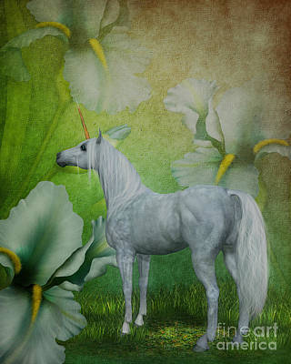 Unicorn And Lilies Art Print by Smilin Eyes  Treasures