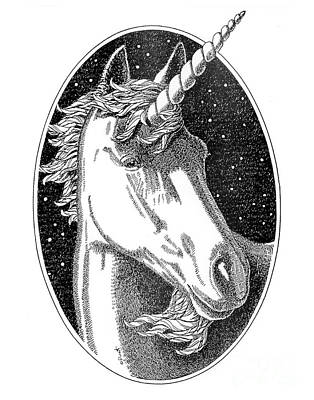 Drawing - Unicorn-black-white-drawing by Gordon Punt