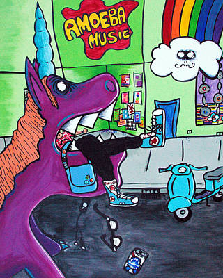 Santa Monica Mixed Media - Unicorn Eating A Hipster by Jera Sky