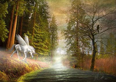 Bare Trees Mixed Media - Unicorn In The Morning by Svetlana Sewell