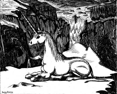 Corey Drawing - Unicorn In The Mountains by Corey Finney