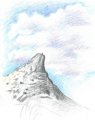 Sierra Drawing - Unicorn Peak by Logan Parsons
