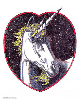 Drawing - Unicorn-valentines-drawing by Gordon Punt