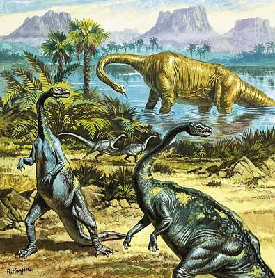 Roger Payne Painting - Unidentified Prehistoric Creatures by Roger Payne