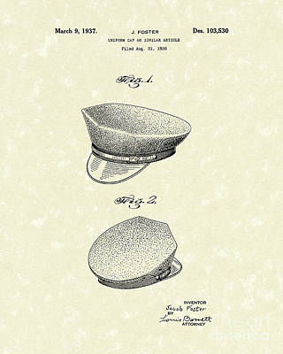 Drawing - Uniform Cap 1937 Patent Art by Prior Art Design