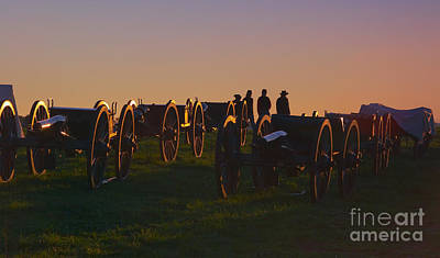 Period Clothing Photograph - Union Cannons At Sunset by Susan Isakson