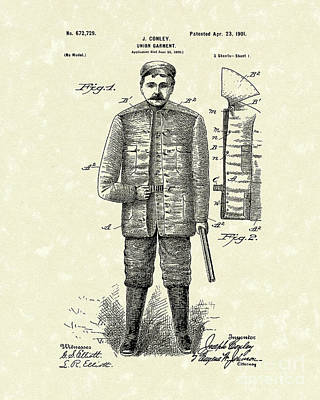 Worn Drawing - Union Garment 1901 Patent Art by Prior Art Design