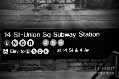 Union Square Subway Station Bw Art Print by Susan Candelario