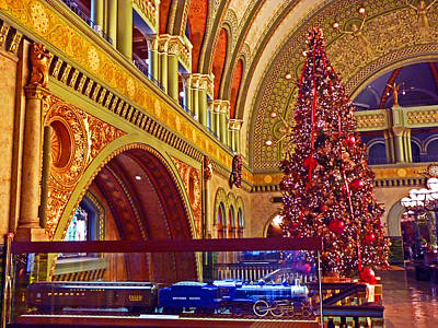 Art Print featuring the photograph Union Station Christmas by William Fields