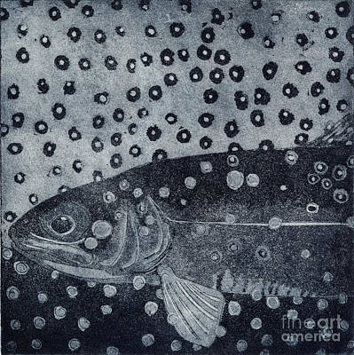 Unique Etching Artwork - Brown Trout  - Trout Waters - Trout Brook - Engraving Art Print