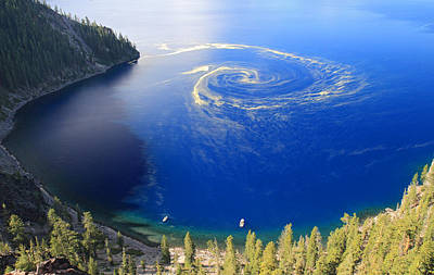 Deep Blue Photograph - Unique Swirl Of Pollen At Crater Lake by Pierre Leclerc Photography