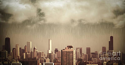 Unique View Of Buildings In Chicago Skyline In The Rain Art Print by Linda Matlow