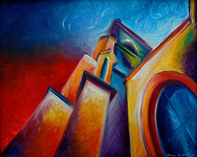 Charleston Houses Painting - Unitarian Church by James Christopher Hill