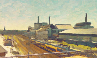 Painting - United Glass Factories Maastricht by Nop Briex