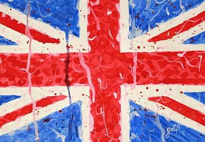 United Kingdom Flag Watercolor Painting Art Print by Georgeta  Blanaru