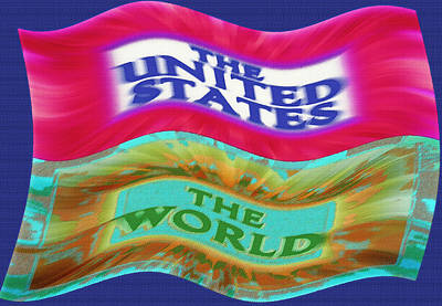 Red White And Blue Mixed Media - United States - The World - Flag Unfurled by Steve Ohlsen