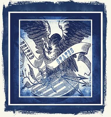 Stripes Mixed Media - United States Blue by Angelina Vick