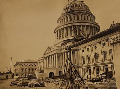 United States Capitol Building In 1863 Art Print by Everett