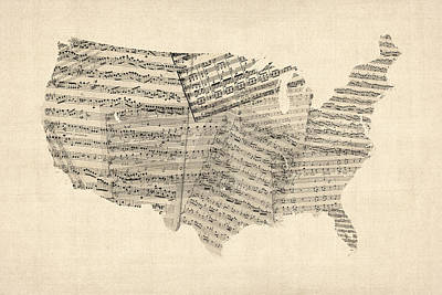 Old Sheet Music Digital Art - United States Old Sheet Music Map by Michael Tompsett