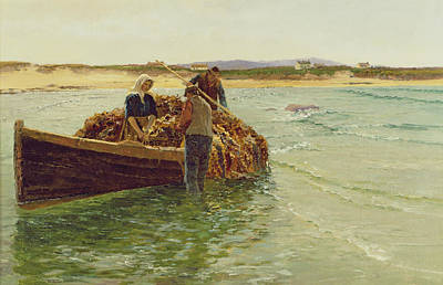 Rack Painting - Unloading Kelp Weed  by Charles William Bartlett