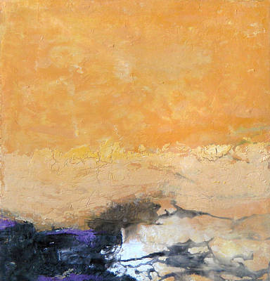 Painting - Untitled Abstract - Amber Peach  With Violet by Kathleen Grace