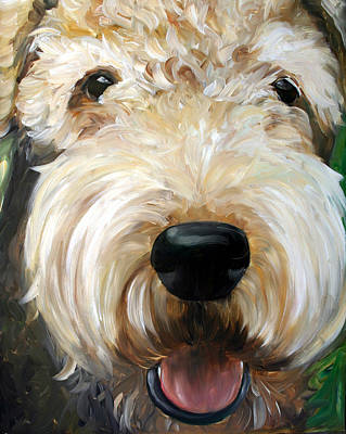 Dog Portrait Painting - Up Close  by Mary Sparrow